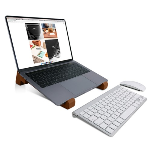 Laptop stand - Tan - Smooth Leather