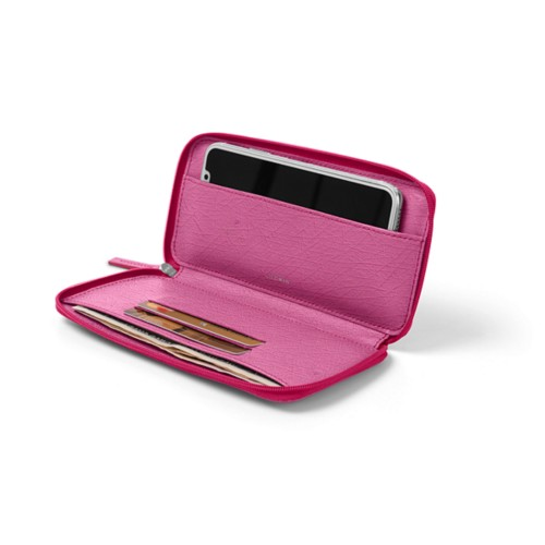Zipped leather pouch for iPhone X - Fuchsia  - Real Ostrich Leather