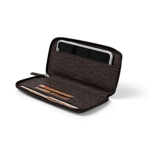 iPhone X用ファスナーつきソフトレザーポーチ - Dark Brown - Real Ostrich Leather