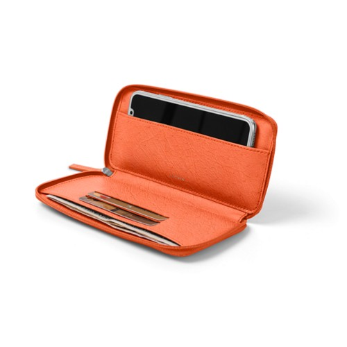 Zipped leather pouch for iPhone X - Orange - Real Ostrich Leather