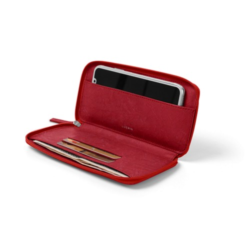 Zipped leather pouch for iPhone X - Red - Real Ostrich Leather