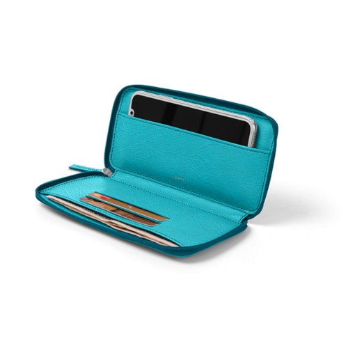 Zipped leather pouch for iPhone X - Turquoise - Real Ostrich Leather