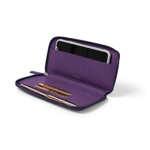 Zipped leather pouch for iPhone X - Purple - Real Ostrich Leather