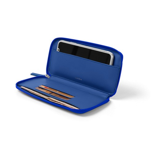 Zipped leather pouch for iPhone X - Royal Blue - Smooth Leather