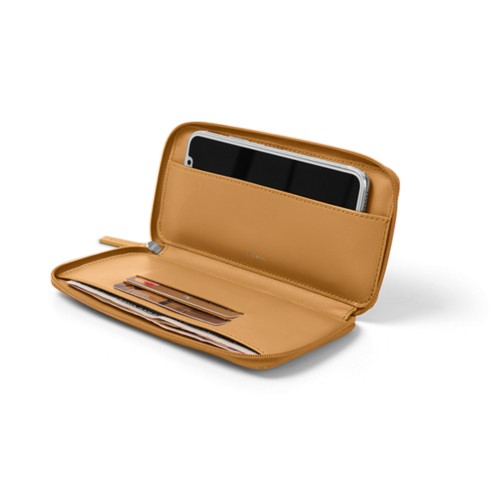 Zipped leather pouch for iPhone X - Natural - Smooth Leather