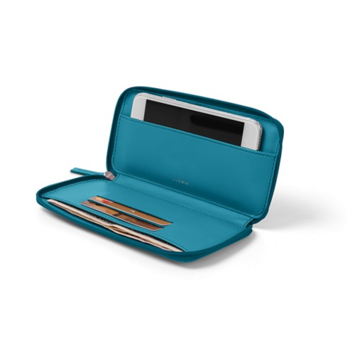Zipped leather soft pouch for iPhone 7 - Turquoise - Smooth Leather