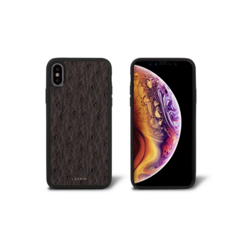 iPhone X Cover - Dark Brown - Real Ostrich Leather