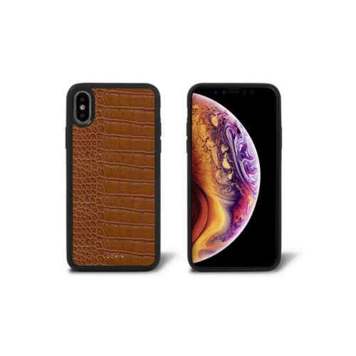 iPhone X Cover - Camel - Crocodile style calfskin