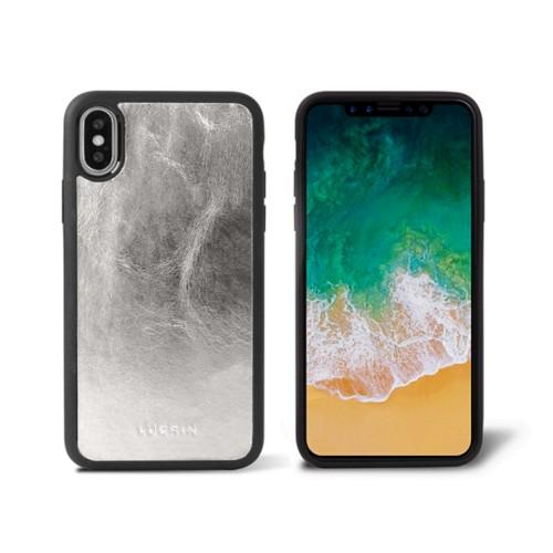 Coque iPhone X - Argenté - Cuir Métallisé