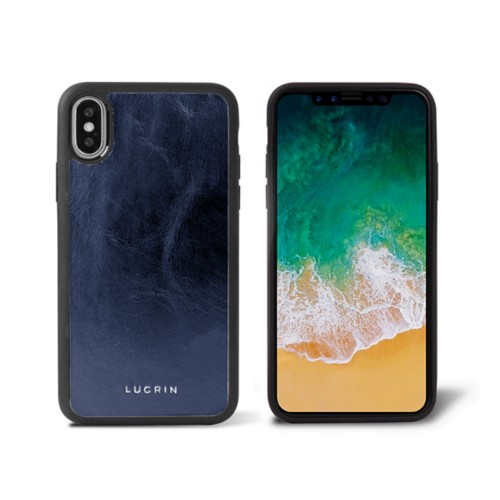 iPhone X Cover - Navy Blue - Metallic Leather