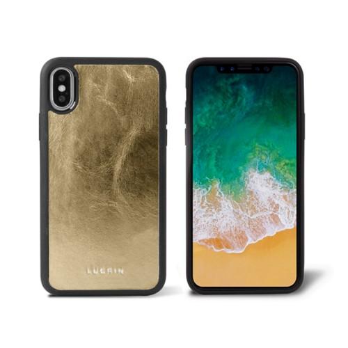 Coque iPhone X - Doré - Cuir Métallisé