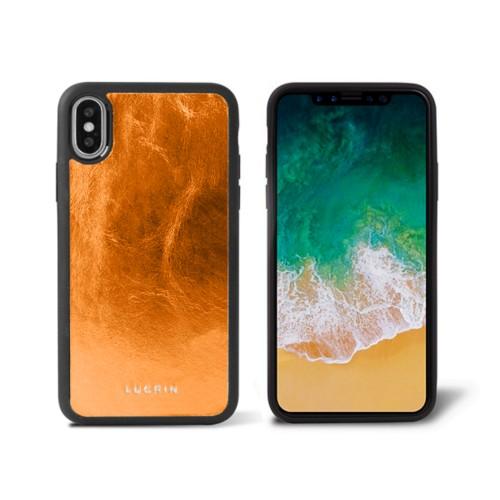 iPhone X Cover - Orange - Metallic Leather