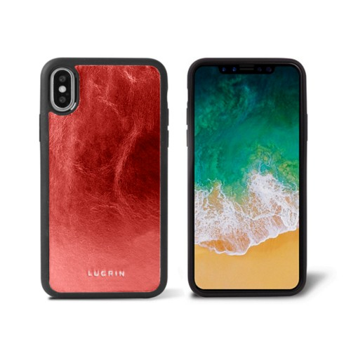 iPhone X Cover - Red - Metallic Leather