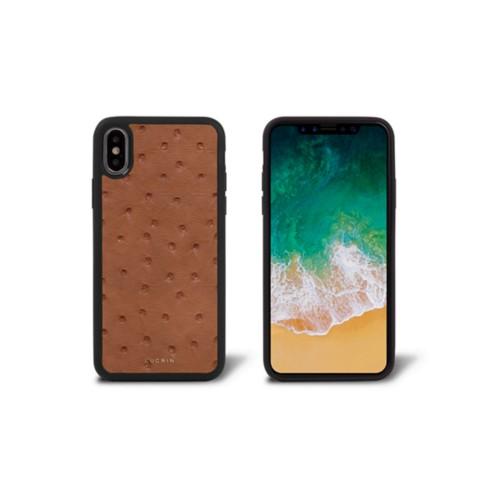 Coque iPhone X - Cognac - Autruche Véritable