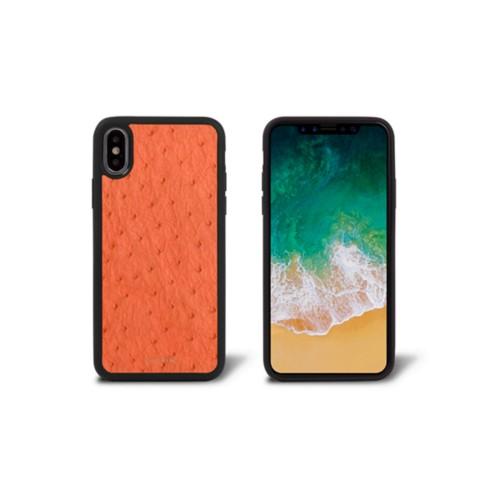 Coque iPhone X - Orange - Autruche Véritable