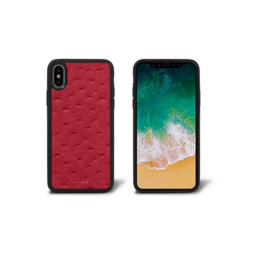 Coque iPhone X - Rouge - Autruche Véritable