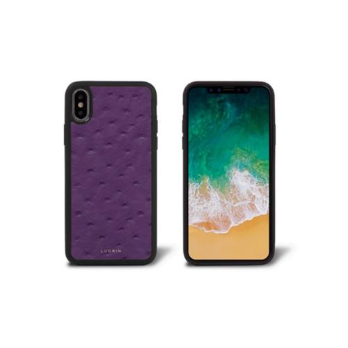 Coque iPhone X - Violet - Autruche Véritable