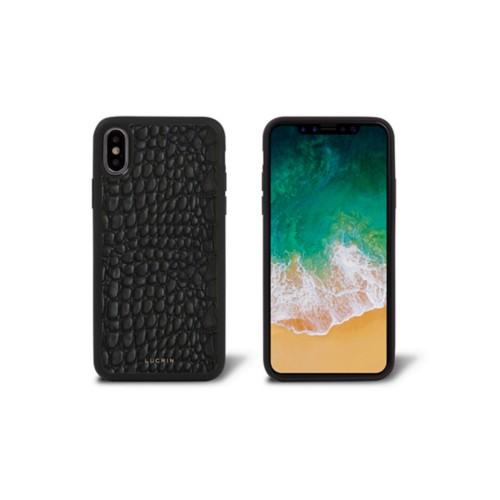 iPhone X Cover - Black - Crocodile style calfskin