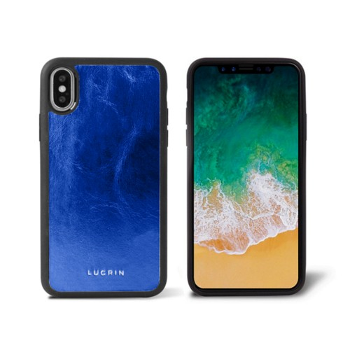 iPhone X Cover - Royal Blue - Metallic Leather