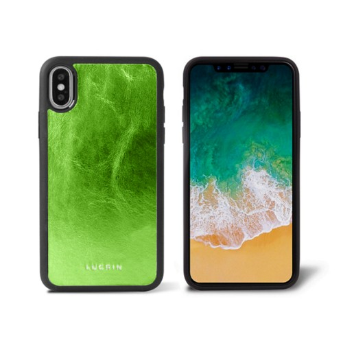 iPhone X Cover - Light Green - Metallic Leather