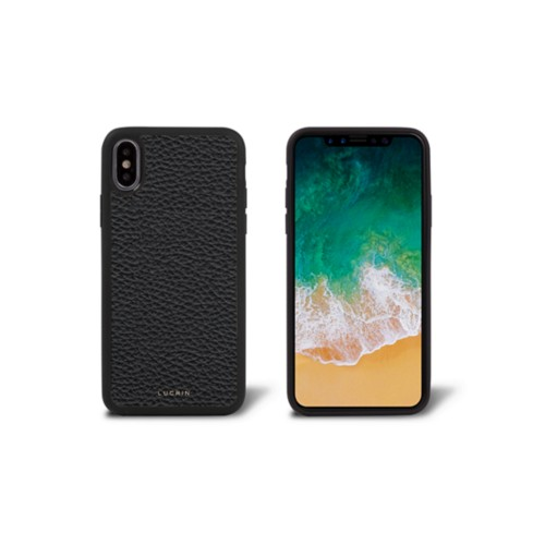 iPhone X Cover - Black - Granulated Leather