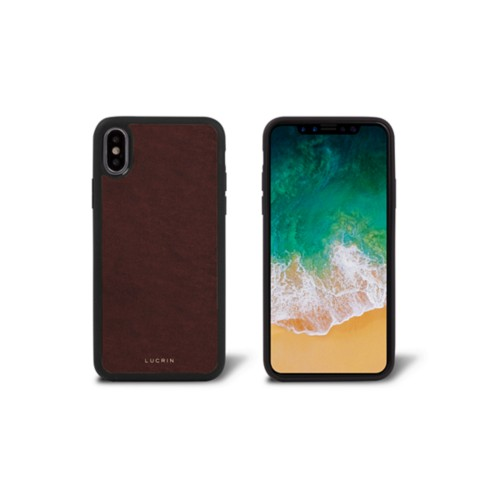 iPhone X Cover - Dark Brown - Vegetable Tanned Leather