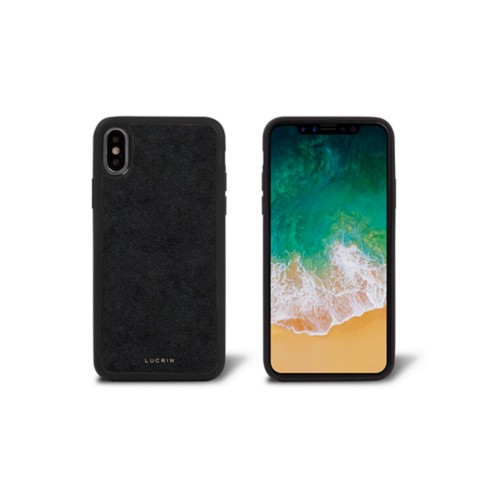iPhone X Cover - Black - Vegetable Tanned Leather