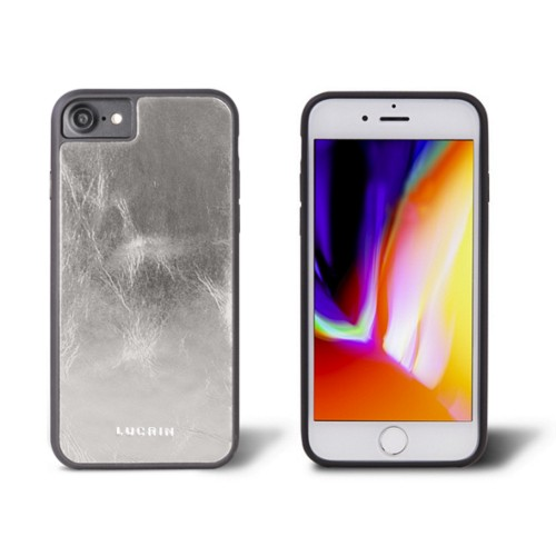 iPhone 8 cover - Silver - Metallic Leather