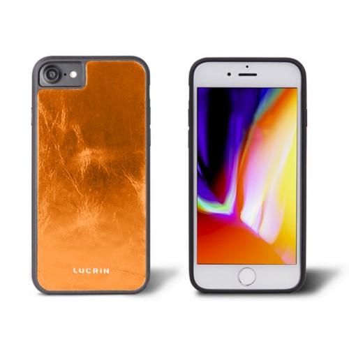 iPhone 8 cover - Orange - Metallic Leather