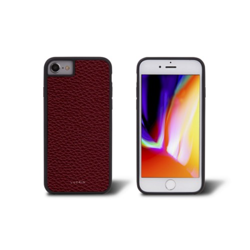 iPhone 8 cover - Burgundy - Granulated Leather