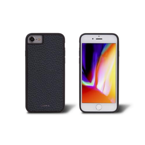 iPhone 8 cover - Navy Blue - Granulated Leather