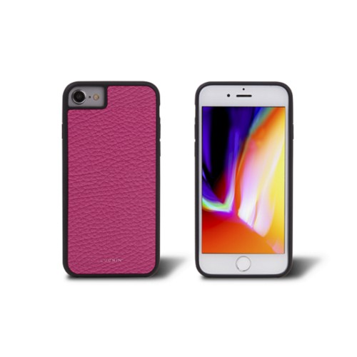 iPhone 8 cover - Fuchsia  - Granulated Leather