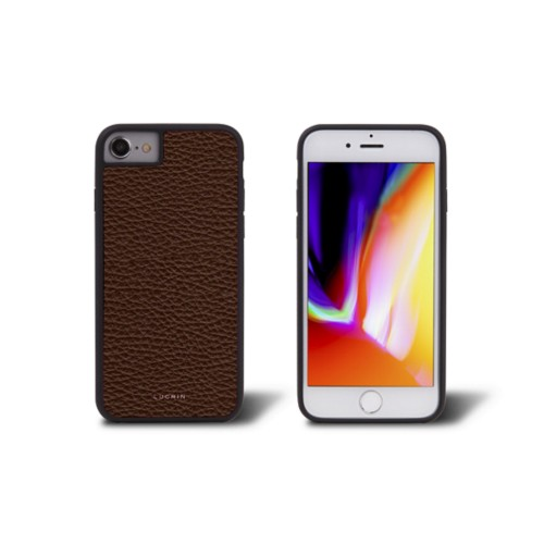 iPhone 8 cover - Dark Brown - Granulated Leather