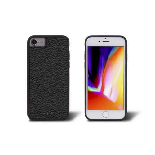 iPhone 8 cover - Black - Granulated Leather