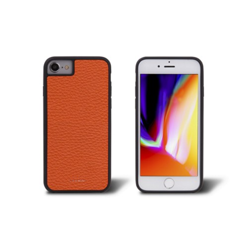 iPhone 8 cover - Orange - Granulated Leather