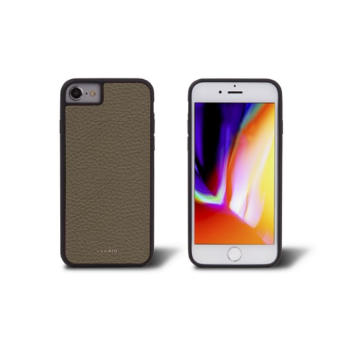 iPhone 8 cover - Dark Taupe - Granulated Leather