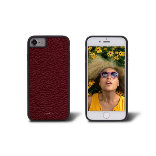 Coque iPhone 7 - Bordeaux - Cuir Grainé