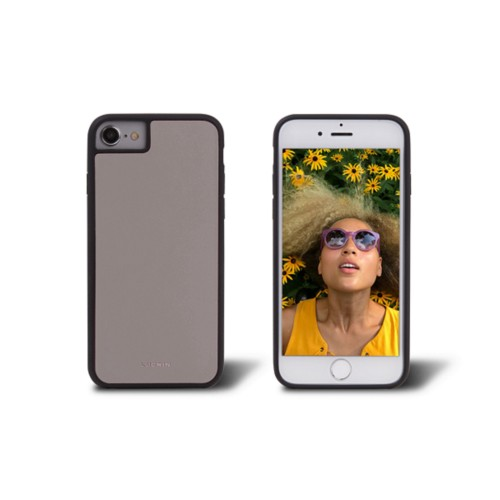 Coque iPhone 7 - Taupe Clair - Cuir Lisse