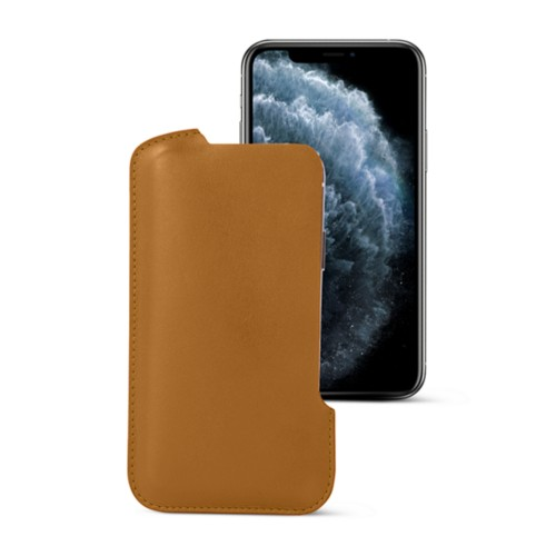 iPhone X pouch - Natural - Smooth Leather