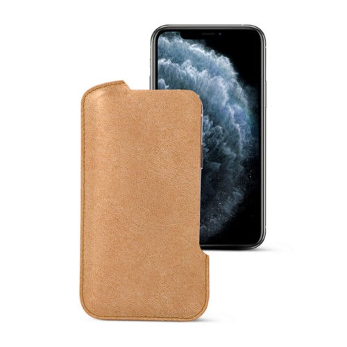 iPhone X pouch - Natural - Vegetable Tanned Leather