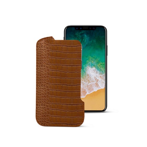 iPhone X pouch - Camel - Crocodile style calfskin