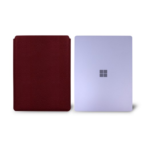 Surface Laptop Sleeve - Burgundy - Granulated Leather