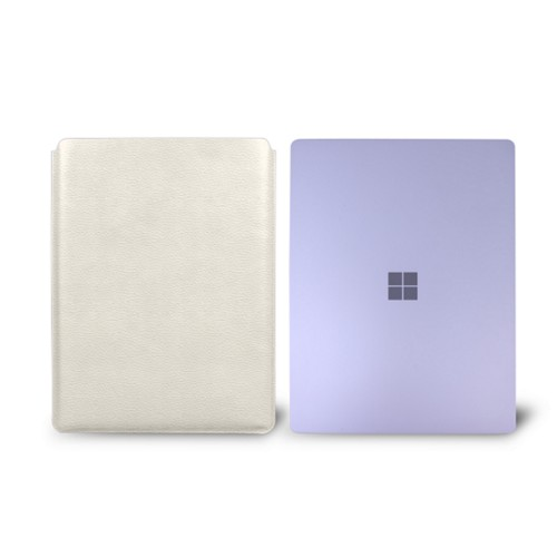 Surface Laptop Sleeve - Off-White - Granulated Leather