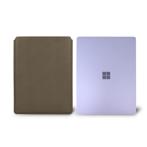 Surface Laptop Sleeve - Dark Taupe - Granulated Leather