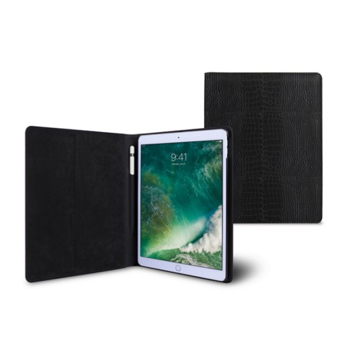 10,5 Zoll iPad Pro-Hülle - Schwarz - Leder in Krokodil- Optik