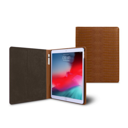 iPad Air Folder Case - Camel - Crocodile style calfskin
