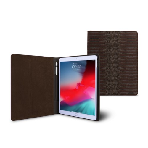 iPad Air Folder Case - Dark Brown - Crocodile style calfskin