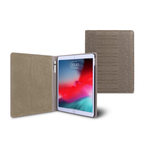 iPad Air Folder Case - Light Taupe - Crocodile style calfskin