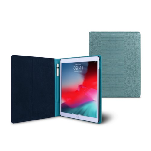 iPad Air Folder Case - Turquoise - Crocodile style calfskin