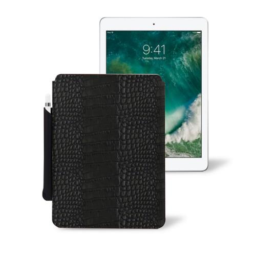 10,5 Zoll iPad Pro-Hülle mit Apple Pencil-Halter - Schwarz - Leder in Krokodil- Optik